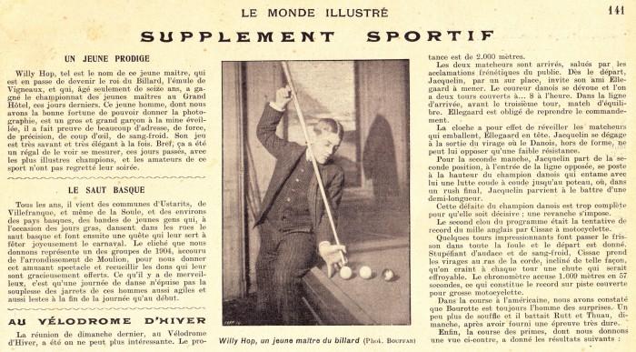 Willie Hoppe haalde reeds de Franse kranten (1902) toen hij als jonge tiener in Parijs kwam trainen