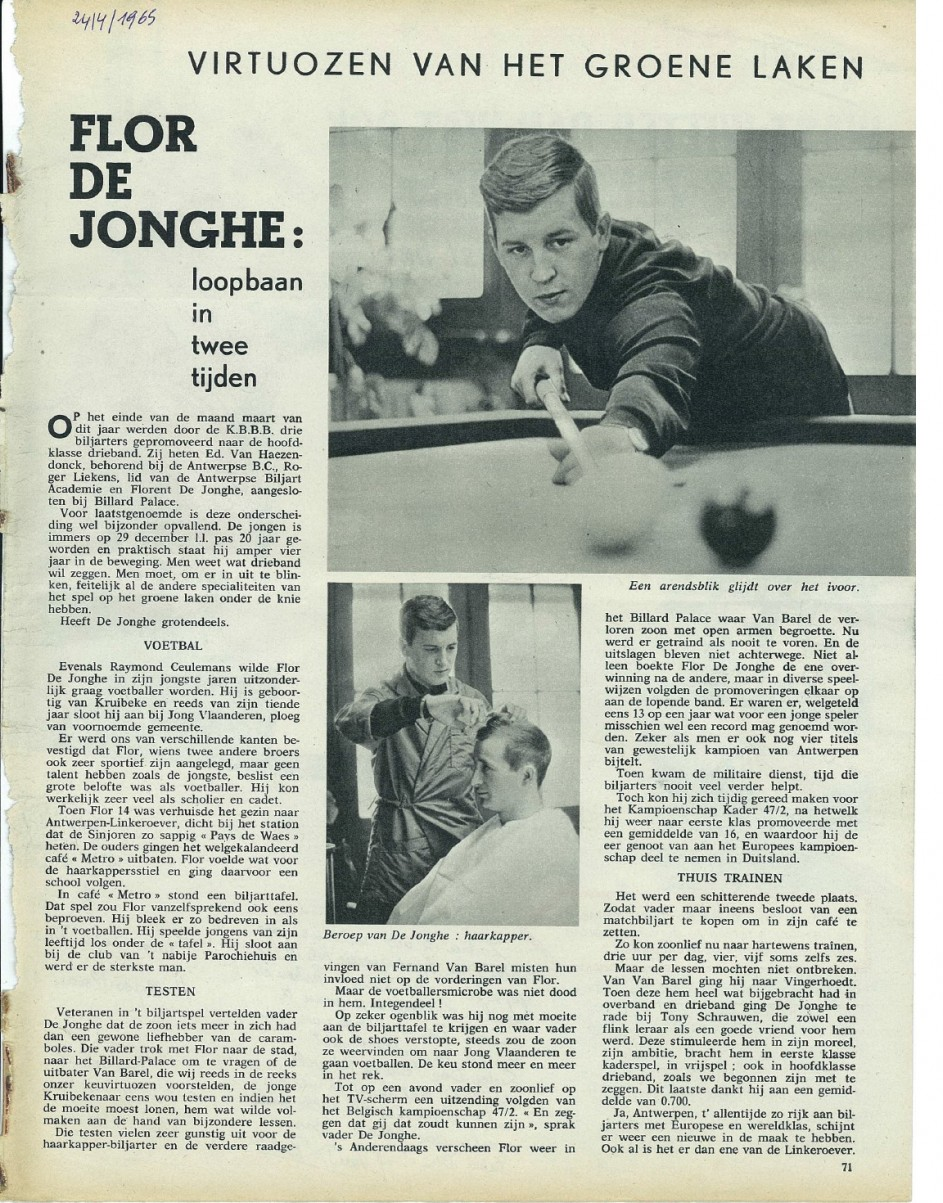 "Artikel over Flor De Jonghe. Gedateerd 24 april 1965. Bron ""Ons Land""."